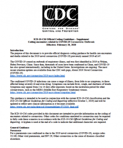 ICD-10-CM Coding Guidelines - Supplement Coding encounters related to COVID-19 Coronavirus